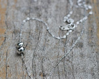 Fine Silver Double Nugget Necklace