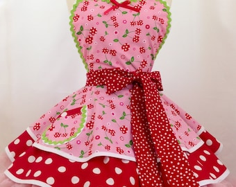 Pink Picnic Party Pin Up Diner Apron, Woman's Apron,  Rockabilly - Pick a Cherry