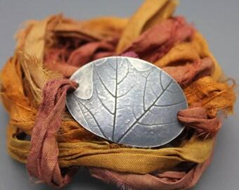 Leaf Imprint Bracelet, Wrap Bracelet, Silver Headband, Wrap Around Silk, Leaf Jewelry, Silver Leaf, Leaf Imprint, Versatile Jewelry
