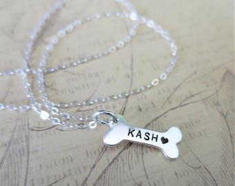 Dog Bone Necklace | Pet Name Necklace | Pet Lover Gift | Engraved Dog Bone | Hand Stamped Pet Jewelry | Sterling Silver Dog Bone | Pet Mom