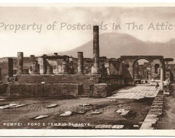 Pillars and Temple of Jupiter of Pompeii Historic Site Real Photograph Vintage Postcard in Italian
