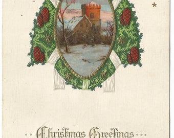 Pine Wreath Pine Cone Winter Wonderland Winter Scene Castle  Stars Modern looking Vintage Postcard Christmas Greeting Card