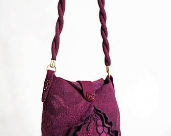 """Boho Eco Handmade Bag """"Bordeaux"""" (felted boho-chic eco-friendly handbags buy)"""