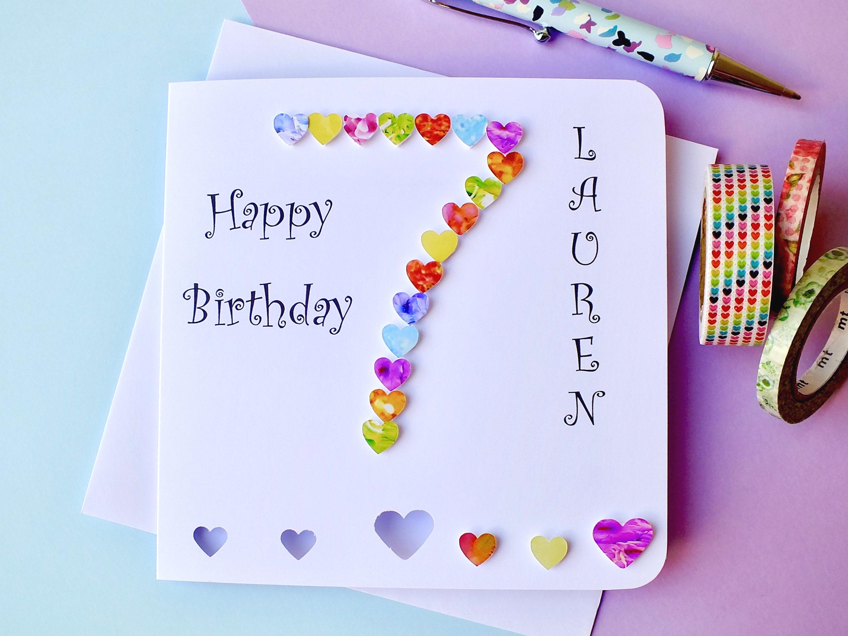 7th Birthday Card Age 7 Birthday Card Personalised &