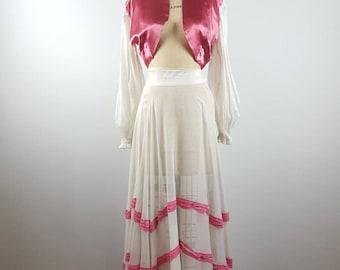 pink delight | vintage 1930s silk gauze dress | vtg 30s skirt + jacket | xxs/xs