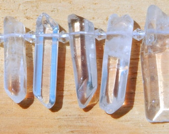 New Supplies Beads Quartz Crystal Points 6-8 x 20-30mm Nearly Water Clear Polished Drilled 5 pc Stick Beads Rock Quartz Points