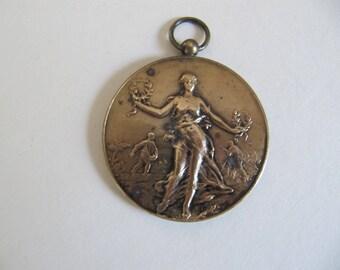 1924 medal medallion agricultural, jewelry component, vintage large medallion pendant w/ lovely embossed design, Belgian Belgium medals