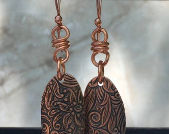 Copper Oval Floral Embossed Earrings