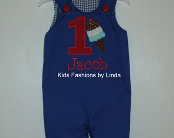 Reversible Royal Blue Jon Jon with Birthday Ice Cream Design/Football Royal Blue Gingham