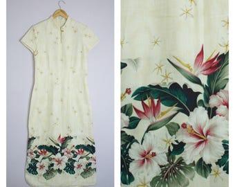 Vintage Liberty House Mandarin Collar Hawaiian Floral Cheongsam Long Dress M
