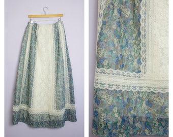 Vintage 1970's Blue Floral + Lace Prairie Maxi Skirt L