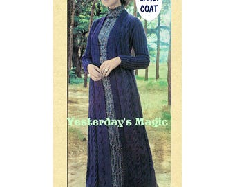 Instant Download PDF Knitting Pattern to make a Womens Long Maxi Ankle Length Cardigan Coat Aran Cables 2 sizes to fit a 32 to 38 inch Bust