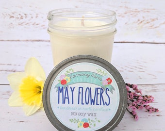 May Flowers Soy Wax Candle in 8 oz. Jelly Jar - Spring Candle, Floral Candle, Housewarming, Home, Hostess Gift