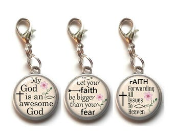 3, Clip On Charms, Christian, Religious, Dangle Charm, Lobster Clasp, Inspirational, Motivational, Quotes, Sayings, Antique Silver, Faith #1