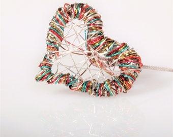 Heart earrings, silver, rainbow earrings, long dangle, wire earring, modern hippie, valentine's gift for women, art jewelry, unusual earring