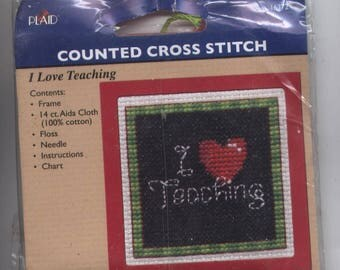 I (Heart) Teaching Ornament Counted Cross-Stitch Kit with Frame