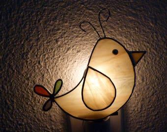 cartoon bird night light yellow stained glass wall plug in onoff