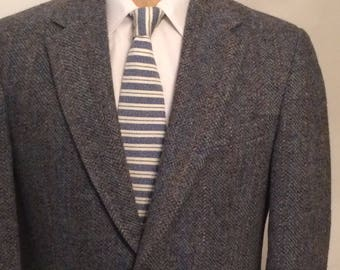 Vintage MENS Harris Tweed for Baskin blue & grey wool herringbone tweed jacket, sport coat or blazer, tailored in U.S.A.