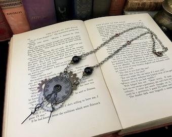 Steampunk Necklace- Statement Necklace- Steampunk Costume- Steampunk Wedding- Clock Necklace- Assemablage Necklace- Art Necklace- Steam Punk