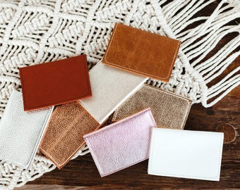 Leather Wallet. Leather Card Case. Metallic Wallet. Simple Leather Wallet. Leather Fold Wallet. Business Card Holder
