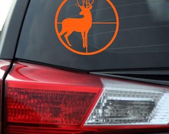 Deer Hunter - Hunting - Deer Hunter Decal - Hunting Decal - Hunting Vinyl Decal - Hunters Scope - Deer in Rifle Scope
