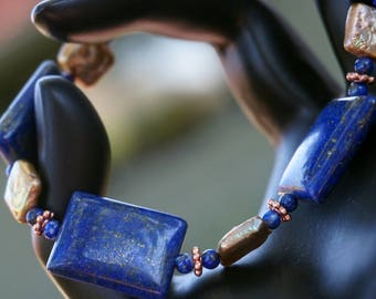Lapis and Gold Freshwater Pearl Bracelet with Copper