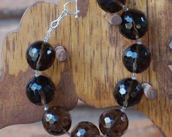 Large Smokey Quartz Beads with Swarovski Crystal Spacers