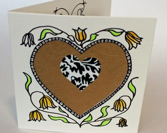 Valentines Card, handprinted with hearts, love birds and gold decorative paper
