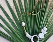 Shape & Balance Necklace- White Speckled