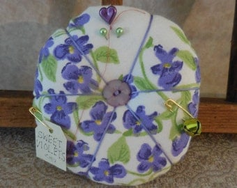 Primitive Vintage Violet Napkin Pin Cushion Recycled Textile Pin Keep Sweet Violets