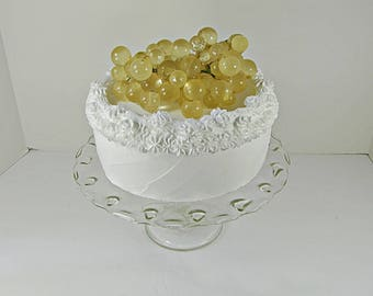 Vintage TEARDROP CAKE STAND Scalloped Rim Indiana Glass Pressed Pastry Display Pedestal Plate
