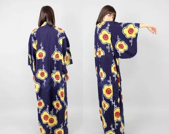Dark Navy Blue Yellow Sunflower Cotton Kimono Yukata Robe