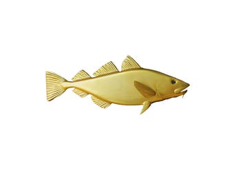 Golden Cod wood carving, 24'' home decor, wall decor, nautical decor, coastal living, New England decor beach decor, marine decor