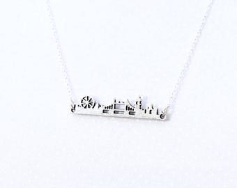 London Calling pendant necklace, cityscape, landscape, handcut, gift, travel jewelry