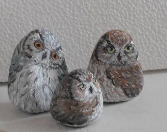 Hand Painted Stone Owl Feather Bird . set of 3 River rock Artwork. Home Garden Decor. 3D animal. READY TO SHIP from Ukraine