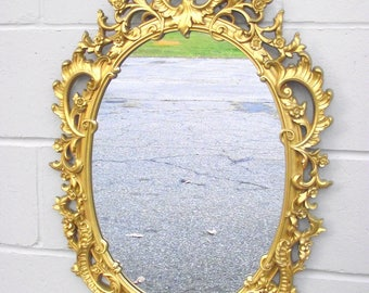 "Hollywood Regency Syroco Gold Mirror Ornate Framed Oval - Big 29"" Long x 20"" Wide - French Italian Provincial - Antique Rococo Baroque"
