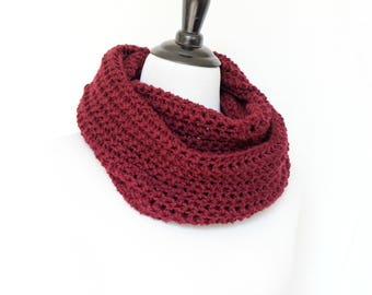 Crochet cowl, infinity scarf, knit cowl, large cowl, loop scarf, infinity loop, crochet scarf, burgundy cowl,
