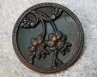 Graceful Hanging Flowers Pictorial ~ Beautiful Antique Brass Floral Picture Coat Button ~ Fuchsia? ~ Tinted Background ~ 1-1/16 inch 27mm