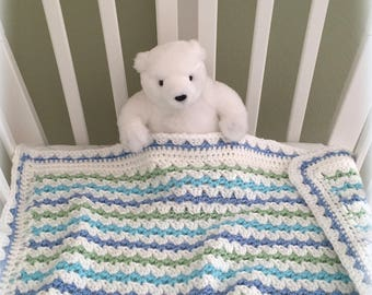 Crochet Baby Blanket Pattern - Baby Blanket Pattern - EASY CROCHET pattern - Del Mar Baby Blanket - Crochet Patterns by Deborah O'Leary