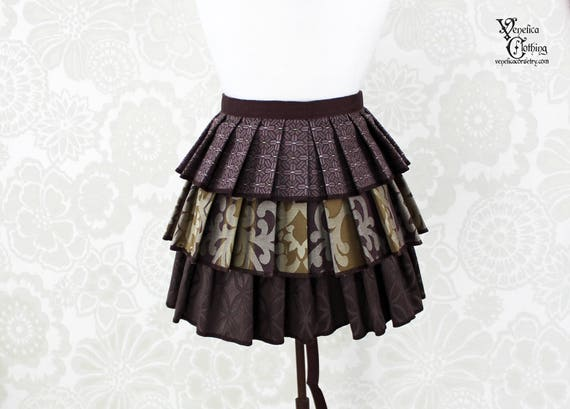 "Steampunk Ruffle Bustle Overskirt - Purple, Olive, & Brown - 3 Layer, Sz. M - Fits up to 55"" Waist/Upper Hip -- Ready to Ship"