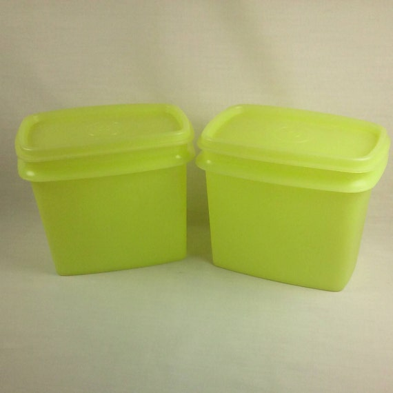 Tupperware Yellow Lidded Boxes Set Of Retro Kitchen Storage - Kitchen storage boxes