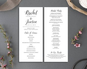 Printable Wedding Program