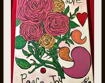 """BOHEMIAN COWGIRL """"Love Peace Joy"""" Pink & Orange Mixed Pattern Floral and Paisley Art on 9"""" x 12"""" Wrapped Canvas"""