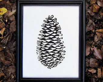 Autumn Fall Pine Forest Nature Print - Linocut Pine cone Print