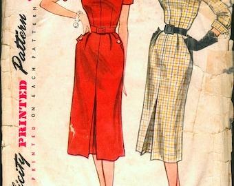Interesting Vintage 1950s Simplicity 3704 Tab Detail Slim Sheath Dress Sewing Pattern B34