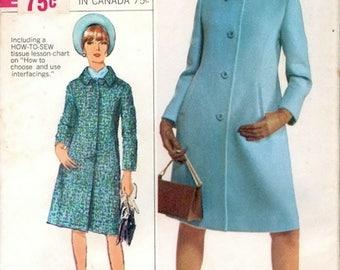 Fab Uncut Vintage 1960s Simplicity 6684 Designer Fashion A Line Coat Sewing Pattern B34