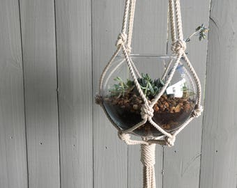 Macrame Plant Hanger - Unbleached Cotton, Bohemian Macrame Plant Hanger, Hanging Basket, Hanging Planter, Plants, Gifts for Plant Lovers