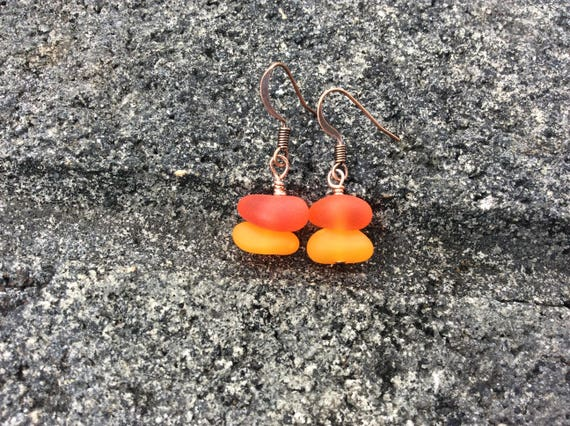 Recycled Seaglass, Copper Earrings