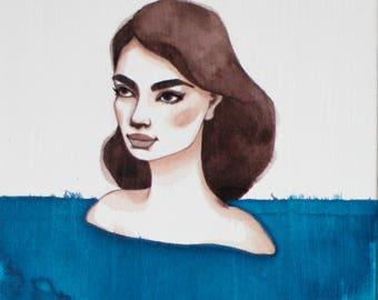Original Painting, Drift #3, Watercolor Art, Figurative Woman Portrait