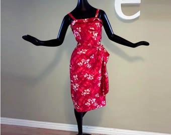 Vintage 50s Rockabilly Sarong Dress 1950s 1960s Hawaiian Tiki Wrap Pin Up Pinup Bombshell Wiggle Dress Polynesian Tropical Red Floral Small